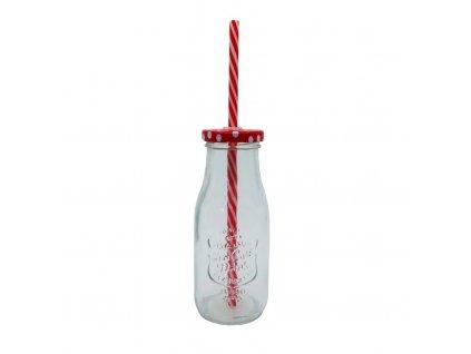 sklenice s brčkem 300ml červená
