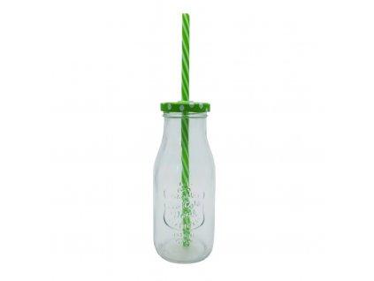 sklenice s brčkem 300ml zelená