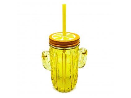 sklenice kaktus žlutý