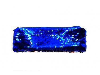 Kosmetická taštička s flitry modrá