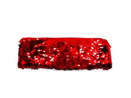Kosmetická taštička s flitry červená