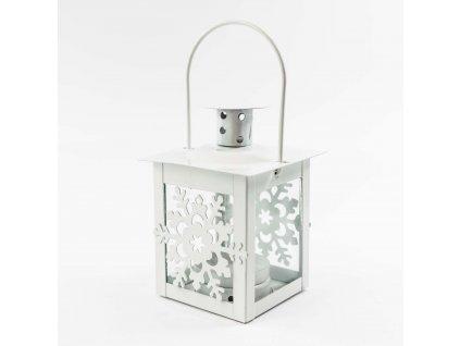 Lucernička na čajovou svíčku - bílá sněhová vločka