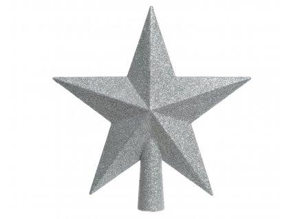 Vánoční špice hvězda stříbrná 12x13 cm
