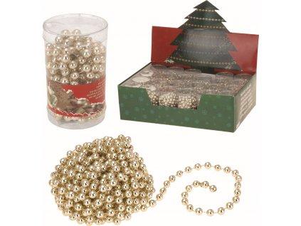 Vánoční řetěz korálky 2,7m zlatý