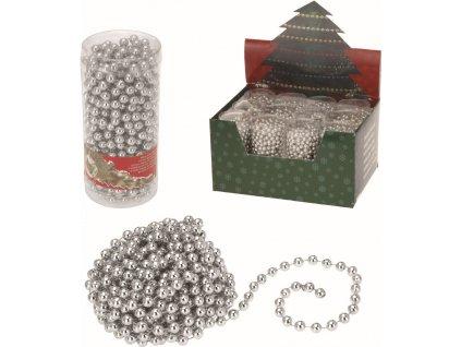 Vánoční řetěz korálky stříbrný 7,5m