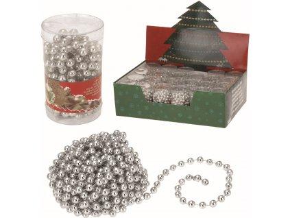 Vánoční řetěz korálky 2,7m stříbrný