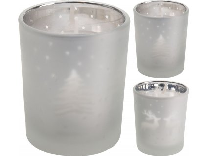 Svíčka 6 cm ve skle - šedá