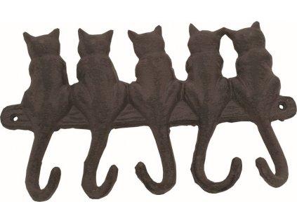 Věšák litina 5 háčků kočky