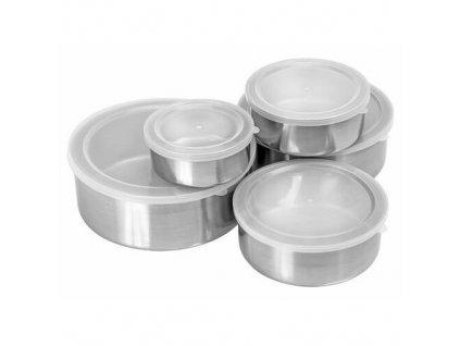 miski stalowe pojemniki z pokrywkami 10el