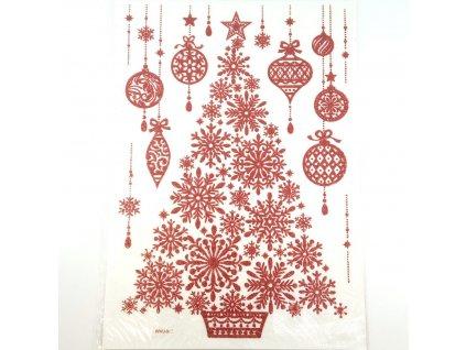 samolepka červený vánoční stromeček