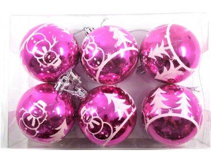 vánoční koule růžové tmavé velké