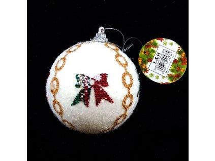 vánoční koule bílá s mašlemi