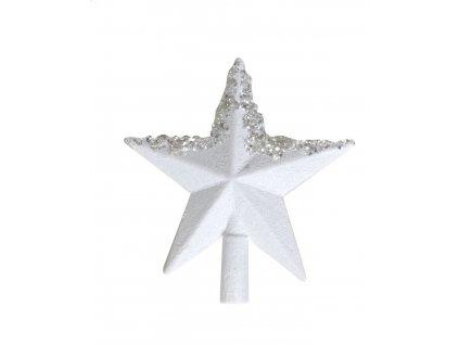 vánoční špice hvězda bílá se třpytkami