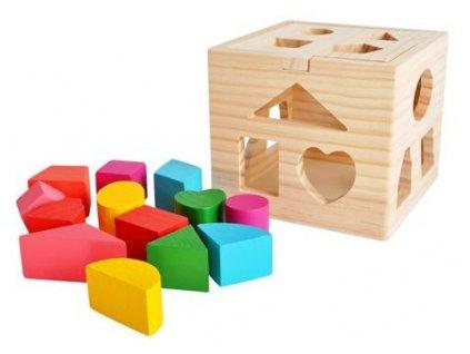 Dřevěná vzdělávací kostka pro děti