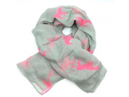 šátek neon růžový koně