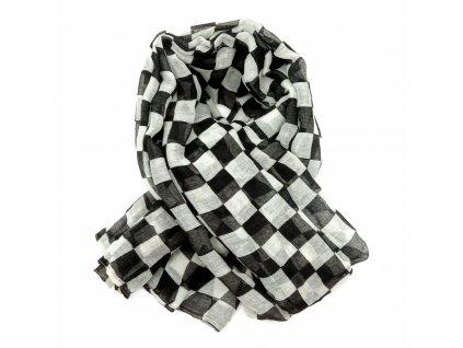 šátek černobílé kostky