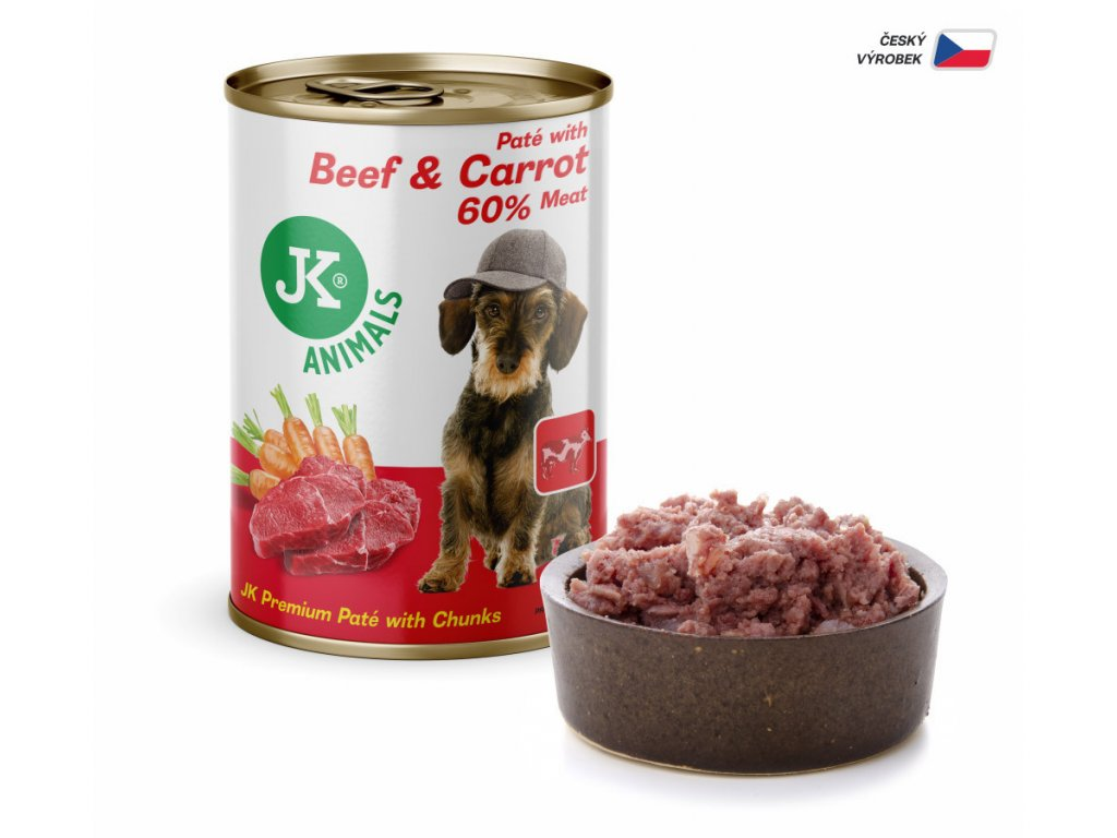 44860 jk animals beef carrot premium pate with chunks 400 g 1