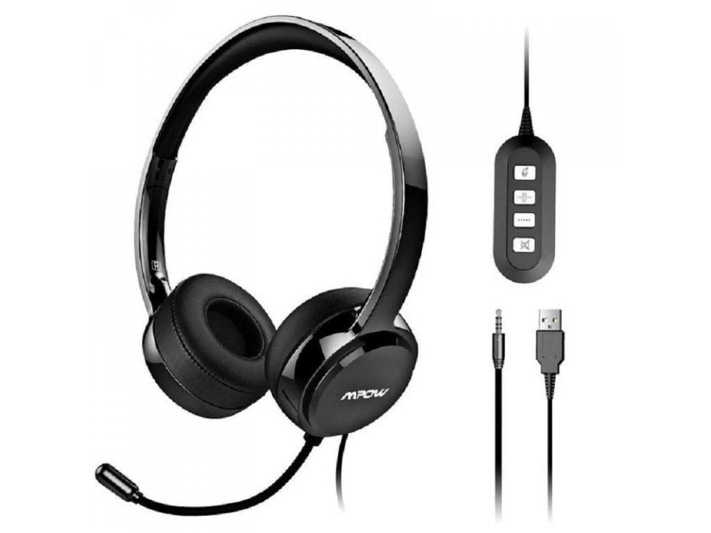 Počítačová sluchátka s mikrofonem / Seen Voice QS-8 / USB připojení