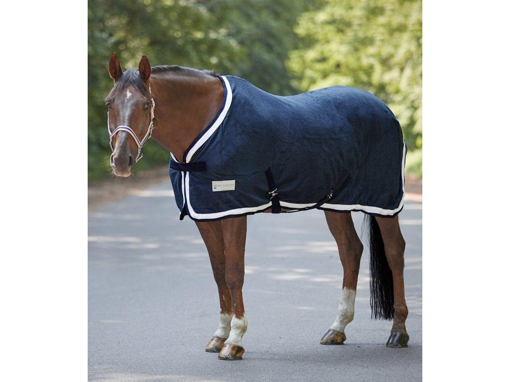 Odpocovací deka fleecová Esperia dark blue/cream Waldhausen