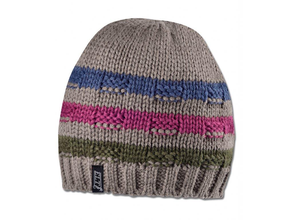 Čepice Aberdeen zimní taupe s proužky ELT