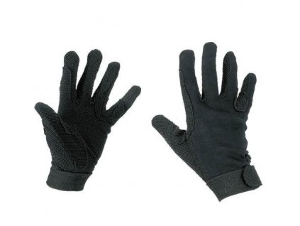 Jezdecké rukavice Jersey bavlněné, černé 8841