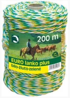 Eurolanko 3mm pro ohradníky bílo-žluto-zelené délka: 200m
