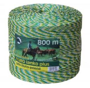 Eurolanko 3mm pro ohradníky bílo-žluto-zelené délka: 800m
