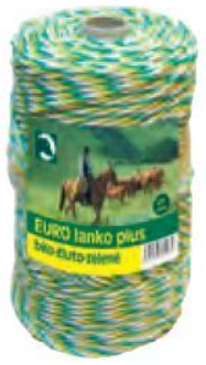 Eurolanko 3mm pro ohradníky bílo-žluto-zelené délka: 100m
