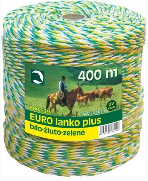 Eurolanko 3mm pro ohradníky bílo-žluto-zelené délka: 400m
