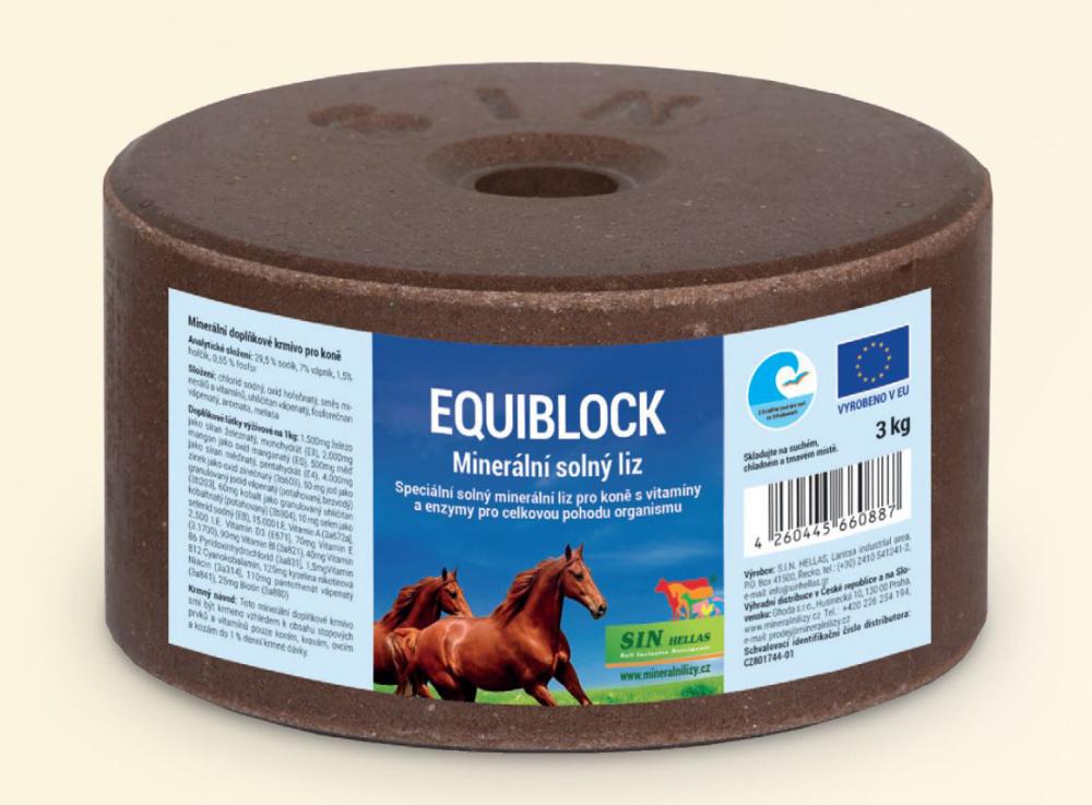 Equiblok, minerální solný liz pro koně s vitamíny a enzymy, Balení 3 kg