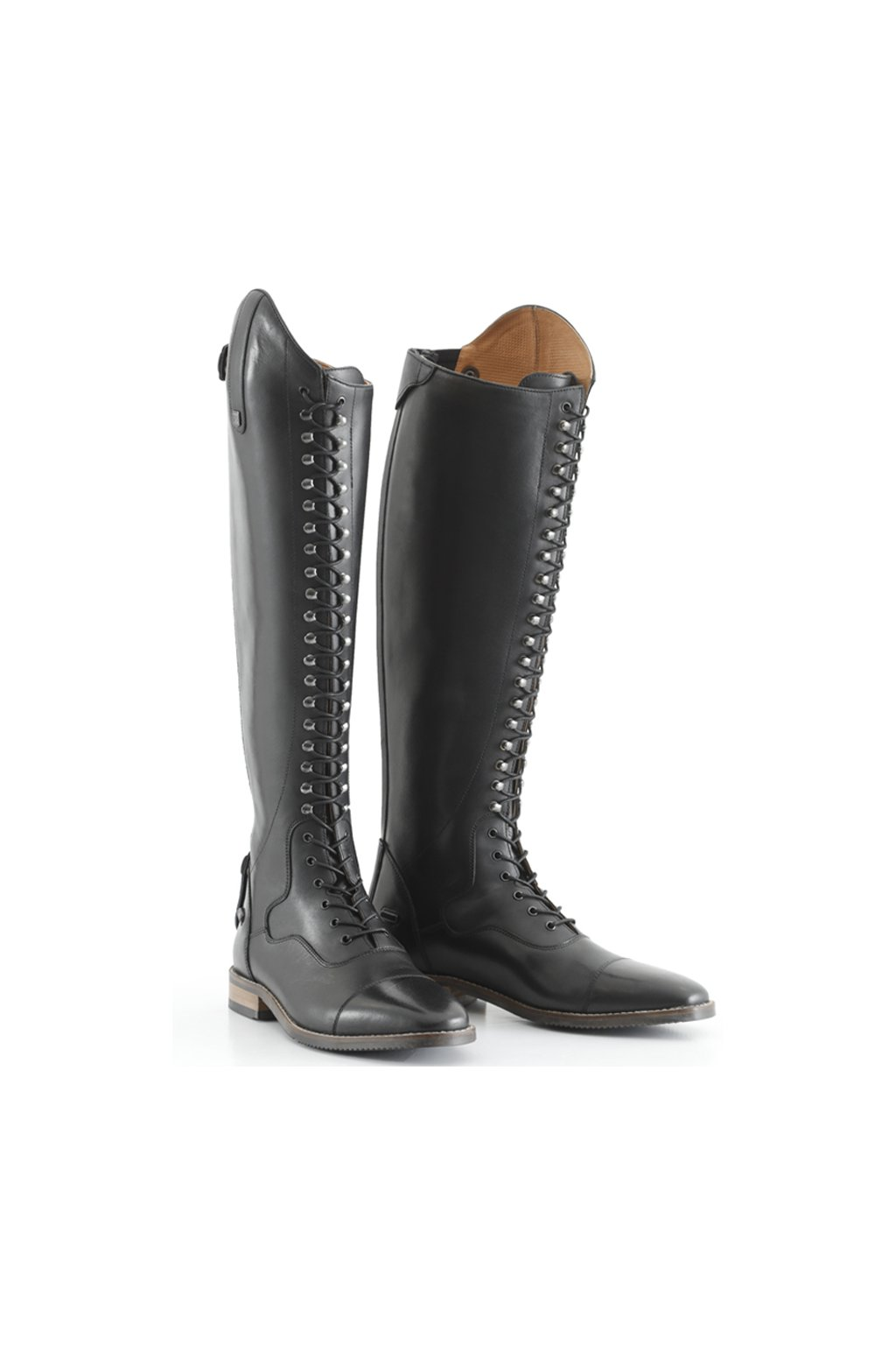 SS20 Maurizia Ladies Lace Front Long Leather Riding Boots Black Main Shot 72