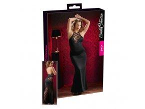 Dlouhé černé šaty s krajkou (S)