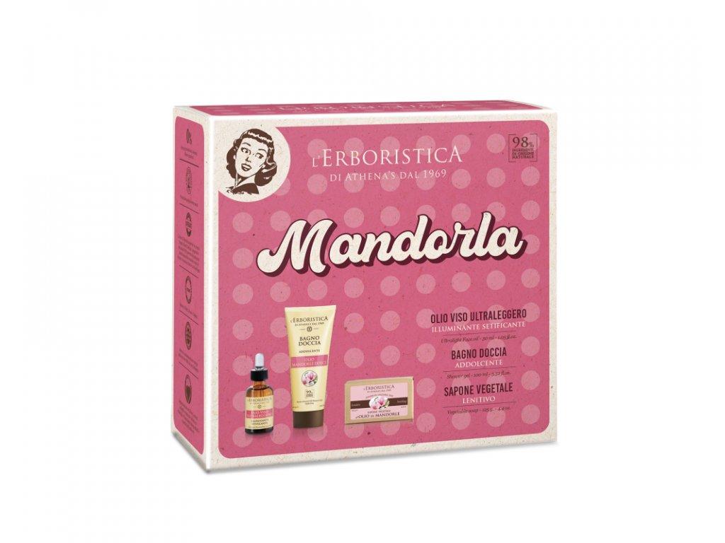 Erboristica Kosmetická sada Vintage - Pleťový olej rozjasňující 30 ml + Sprchový gel s mandlovým olejem 100 ml + Tuhé mýdlo s mandlovým olejem 125 g
