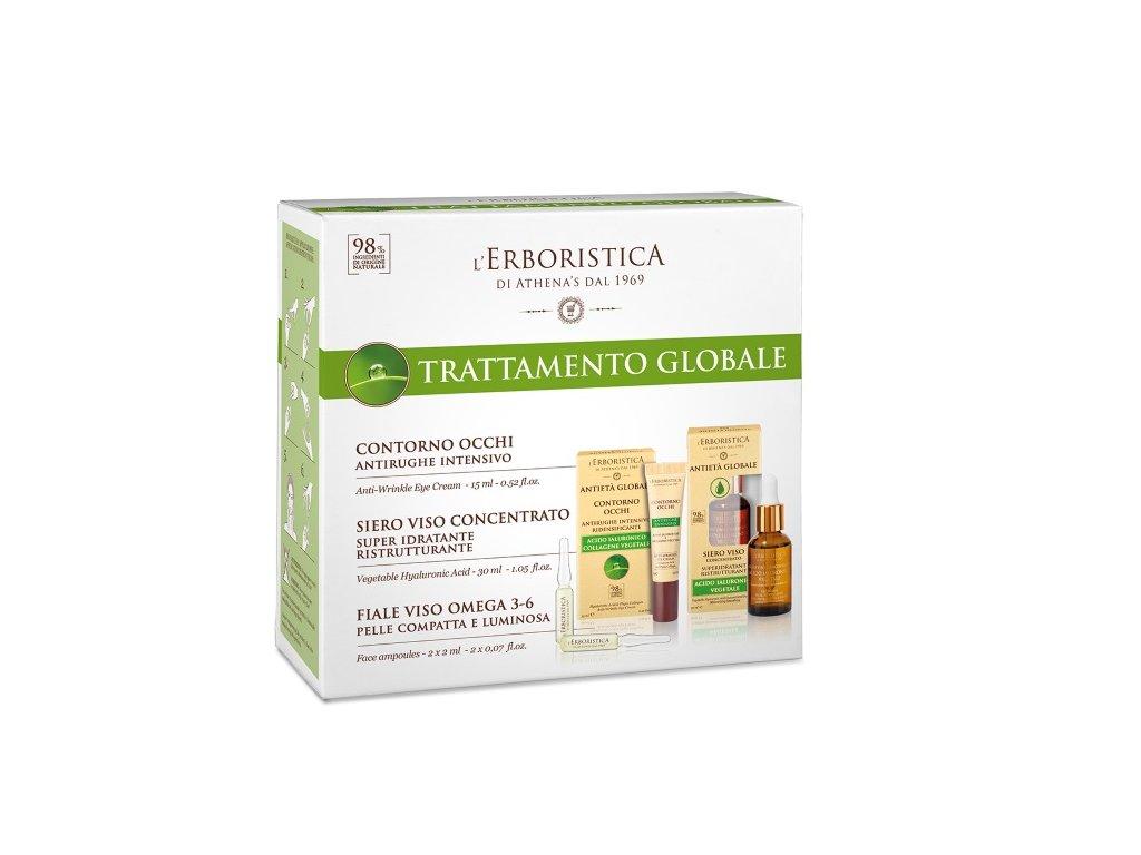 Erboristica Global anti-age kosmetická sada - Oční krém 15 ml + Vyplňující ampule 2x2 ml + Hyaluronové sérum 30 ml