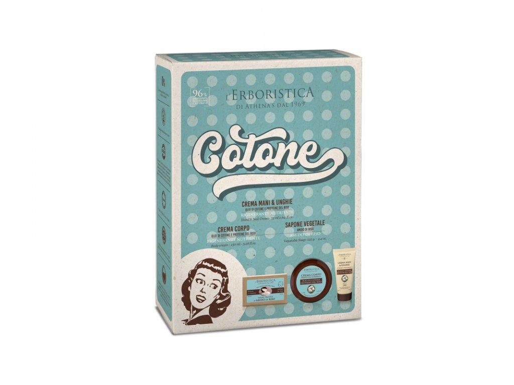 Erboristica Kosmetická sada Vintage bavlníkový olej - Krém na ruce a nehty 75 ml + Tělový krém 150 ml + Tuhé mýdlo 125 g