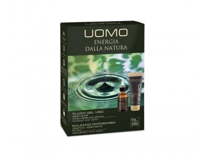 Erboristica UOMO Kosmetická sada pro muže - Pleťový hydratační keratinový gel 30 ml + Balzám po holení 100 ml