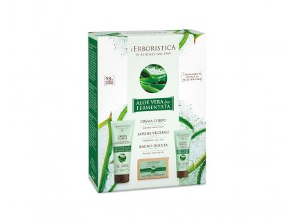 Erboristica Kosmetická sada Tělová péče fermentované aloe vera bio - Tělový krém 200 ml + Sprchový gel 100 ml + Tuhé mýdlo 125 g