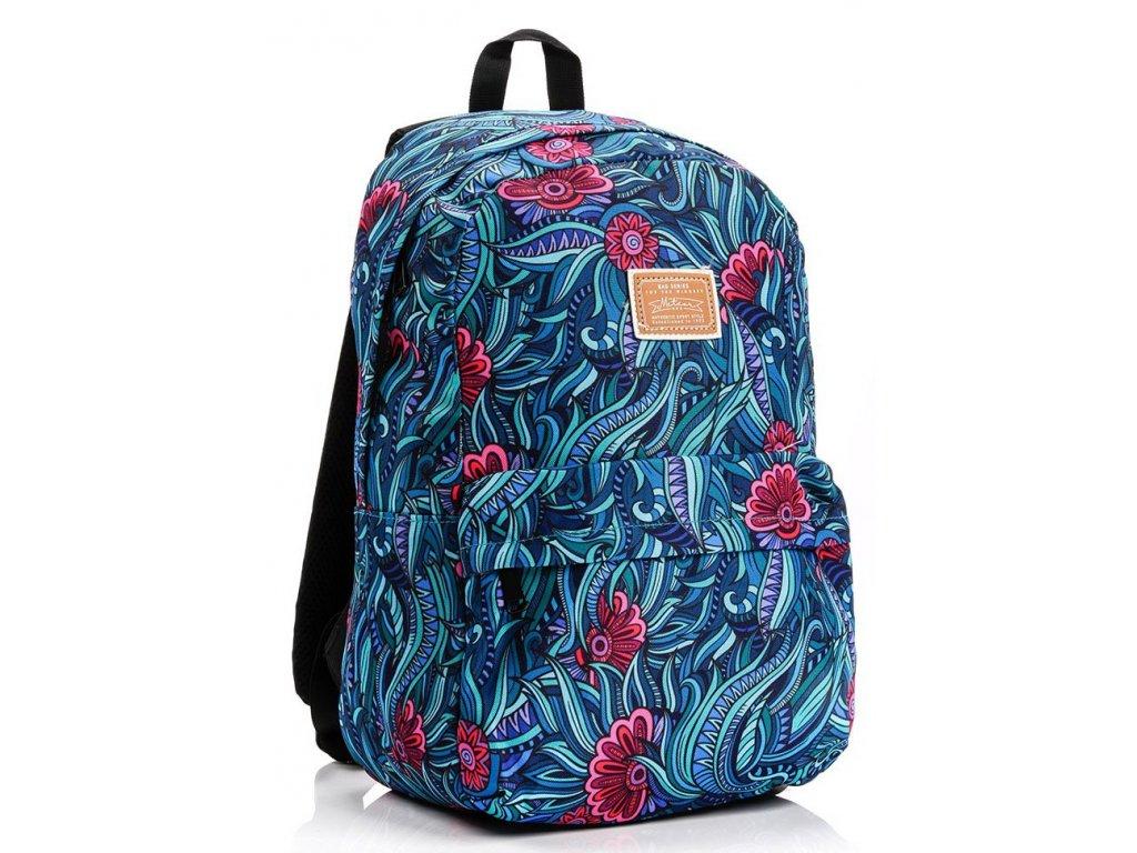 Školní batoh Meteor 74522 Leaves modrá