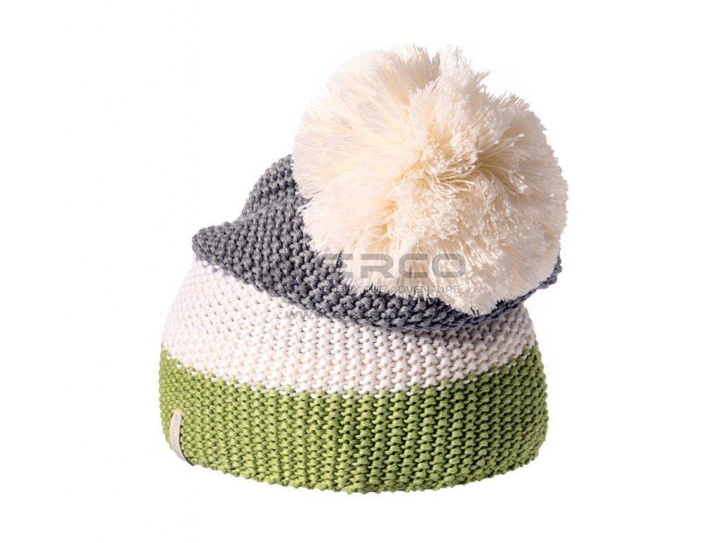 Dámská čepice Meteor PICO MERINO bialo szaro zielona