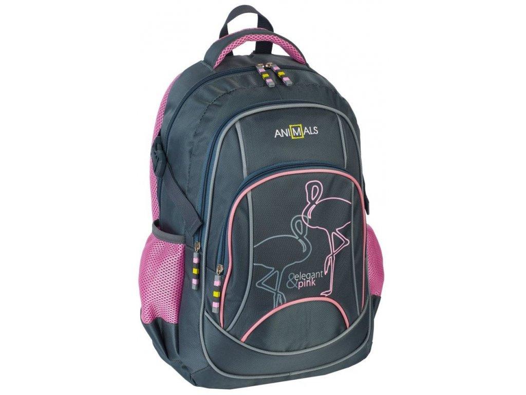 Školní batoh Animals 79020 šedá/růžová