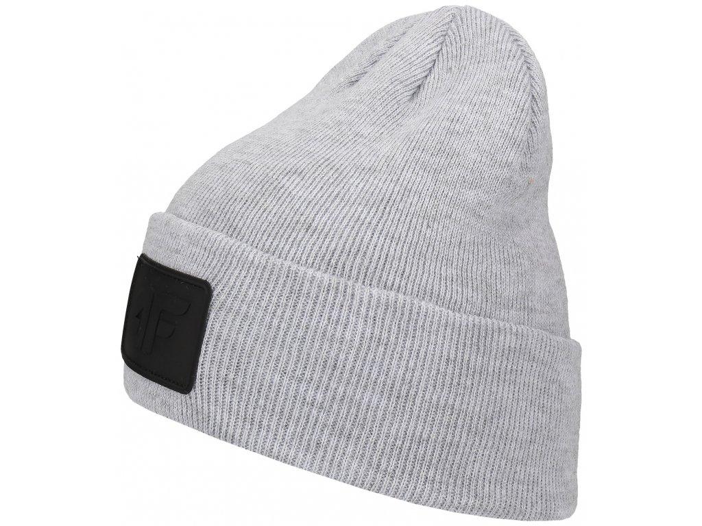 Pánská čepice 4F CAM064 Warm l. grey mel. šedá