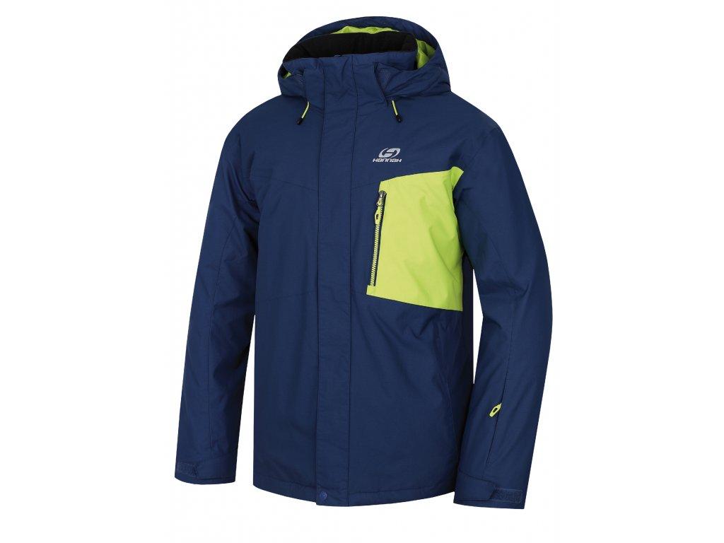 Pánská lyžařská bunda Hannah Juval Dark denim/lime punch modrá