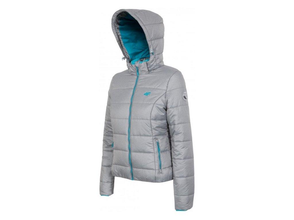 Dámská zimní bunda 4F KUD002 SZARY MEL šedá