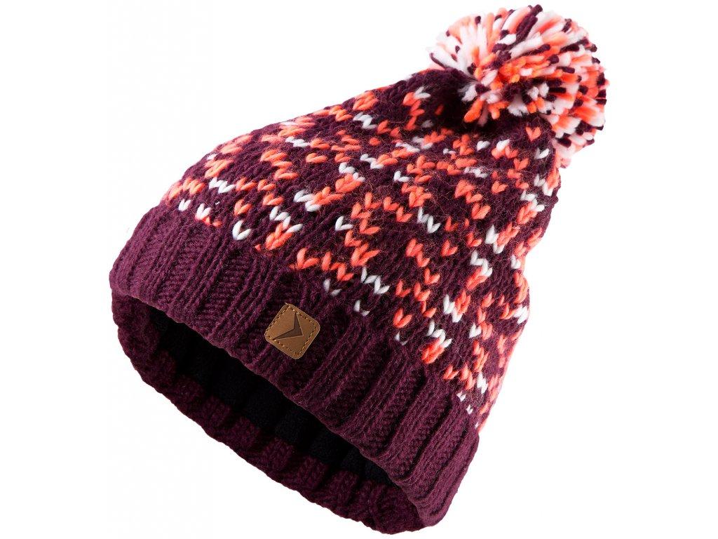 Dámská pletená čepice Outhorn CAD612 Claret červená