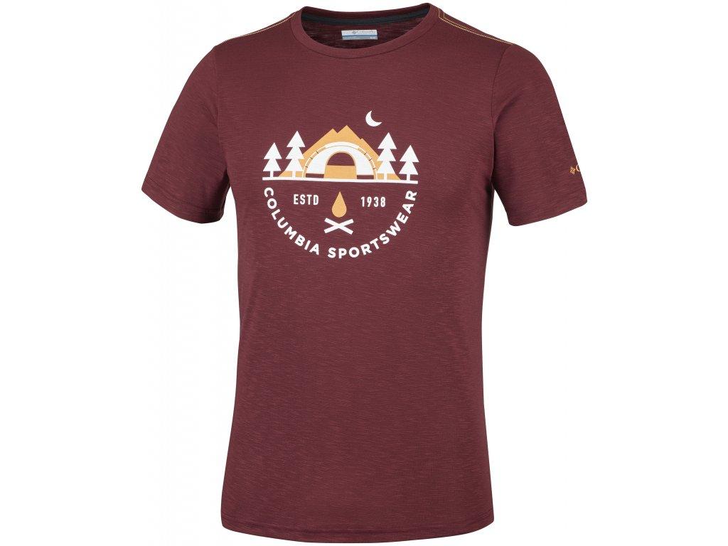 Pánské tričko Columbia Nelson Point™ Graphic Short Sleeve Tee 615 červená