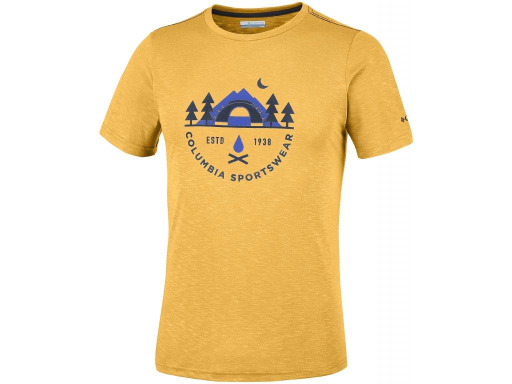Pánské tričko Columbia Nelson Point™ Graphic Short Sleeve Tee 703 žlutá