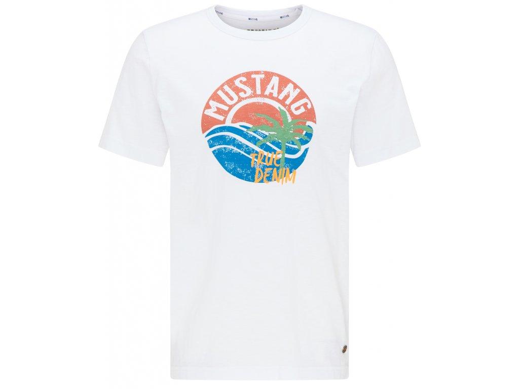 Herren-Rundhals-T-Shirt Alex C Print Mustang weiss 1009534 2045 1B