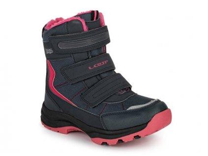 22962 loap sneeky detske zimni boty modra ruzova kbj1888m94j