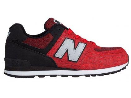 Dětská lifestylová obuv New Balance KL574 BEG červená