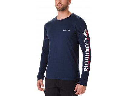 Pánské tričko Columbia Columbia Lodge™ LS Graphic Tee 464 modrá
